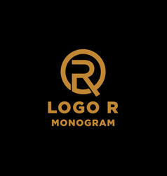 Luxury initial r logo design icon element isolated vector