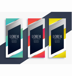 Modern geometric set of vertical banners vector