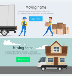Moving home banners of loaders movers man vector