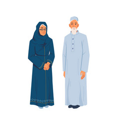 muslim grandmother grandfather in national cloth vector image