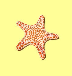 Orange spotty starfish on a yellow sand vector