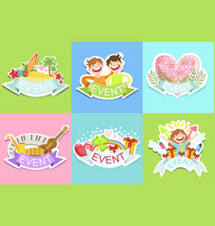 Party template labels set of cute stickers vector