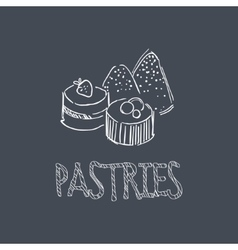 Pastry Sketch Style Chalk On Blackboard Menu Item vector