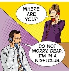 people talk on phone comic book vector image