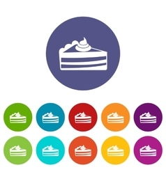Piece of cake set icons vector