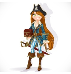 pirate girl with pistol and chest vector image vector image
