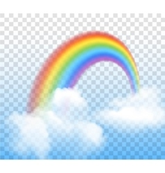 Rainbow With Clouds Transparent vector image