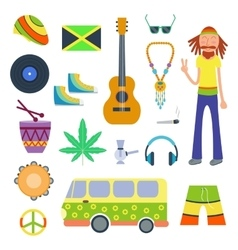 Rastafarian icons set in flat style vector