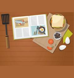 recipe book sandwich egg vegetables vector image