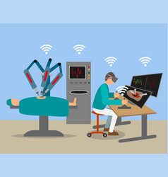 remote suregery with 5g technology vector image