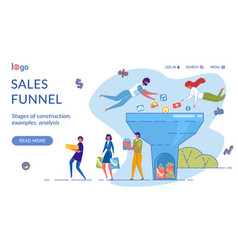 sales funnel landing page flat template vector image