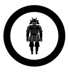samurai japan warrior icon in round black color vector image