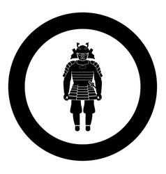 samurai japan warrior icon in round black color vector image