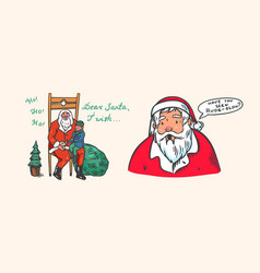 santa claus bearded grandfather with a child the vector image