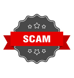 Scam red label scam isolated seal scam vector