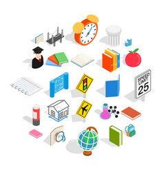 Scientific approach icons set isometric style vector