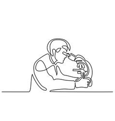 Scientist man looking through microscope vector