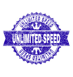 Scratched textured unlimited speed stamp seal with vector