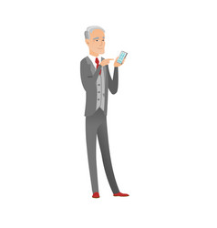 Senior caucasian businessman holding mobile phone vector