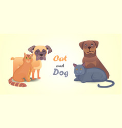 Set cat and dog together cartoon characters vector