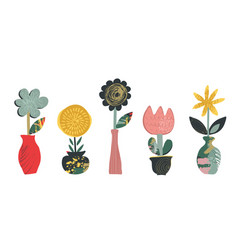 set flowers in pots with hand drawn vector image