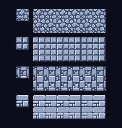 set of 8 bit 16x16 stone and vector image