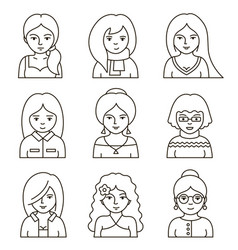 set of people stylish avatars for profile page vector image