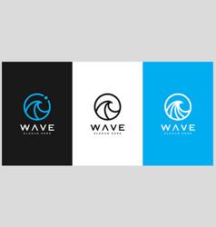 set of wave circle logo design vector image