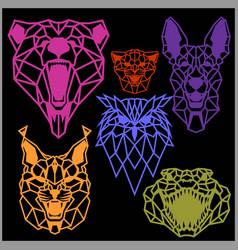 Set polygonal head animals polygonal logos vector