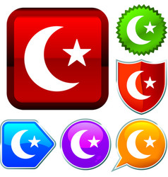 Set shiny icon series on buttons arabic vector