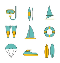 set water sport icons flat design isolated vector image