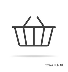shopping basket outline icon black color vector image