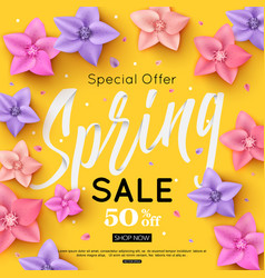 spring sale banner template decorated with bright vector image
