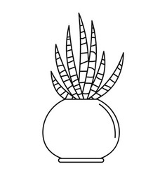 striped cactus pot icon outline style vector image