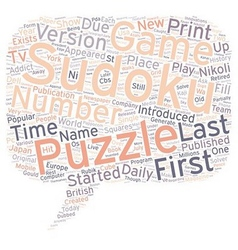 sudoku puzzle text background wordcloud concept vector image