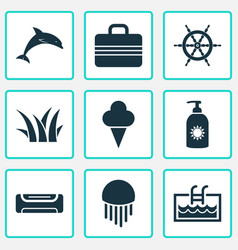 summer icons set with suitcase grass ship helm vector image