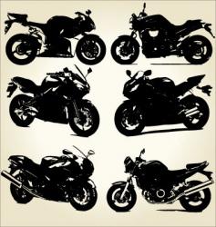 Super bikes silhouettes vector