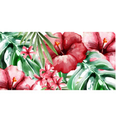 Tropic flowers background watercolor vector