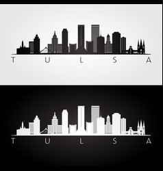 Tulsa usa skyline and landmarks silhouette vector