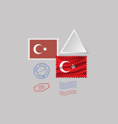 Turkey flag postage stamp set isolated on gray vector