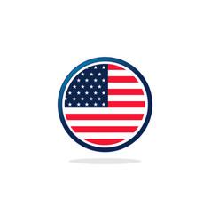 Usa flag circle logo vector