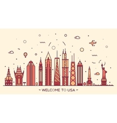 USA skyline silhouette linear style vector