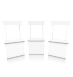 Various angles blank white promotion stand vector