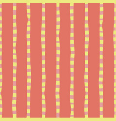 Vertical hand drawn stripes coral pink yellow vector