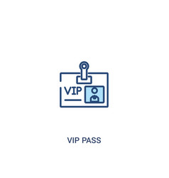 Vip pass concept 2 colored icon simple line vector