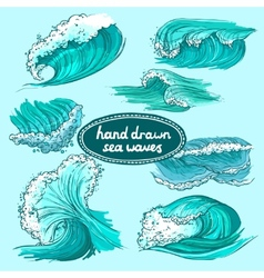 Waves icons set colored vector image