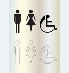 wc icons - toilet man and woman figures vector image