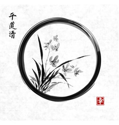 Wild orchid on meadow in black enso zen circle vector