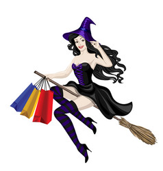 Witch flying with shopping bags vector