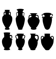 with silhouettes of greek amphoras vector image